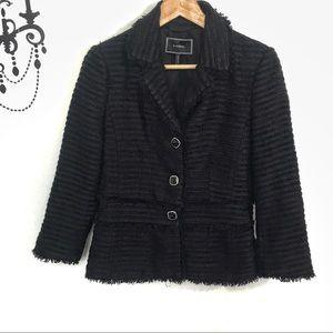 Le Château Elegant black tweed fringe jacket Sz P